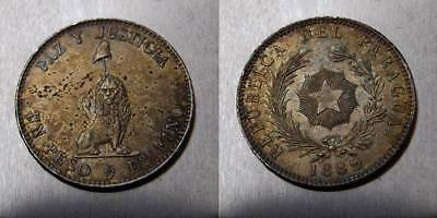 Paraguay Peso 1889 Silver crown size toned