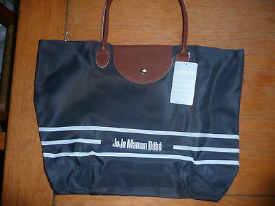 BNWT JoJo Maman Bebe Maternity Bag/ Large/ Navy Blue + Brown Synthetic Leather