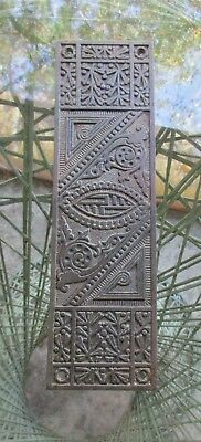 Bronze art nouveau push plate or finger plate for a door, steampunk