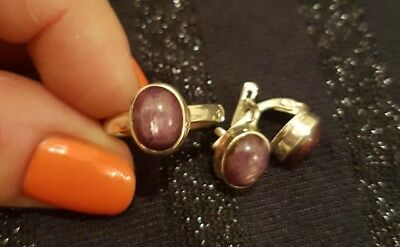 Purple Flash Labradorite  in 925 silver earrings and ring set.
