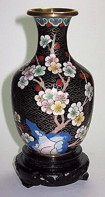Vintage Chinese Cloisonne' Vase with Stand