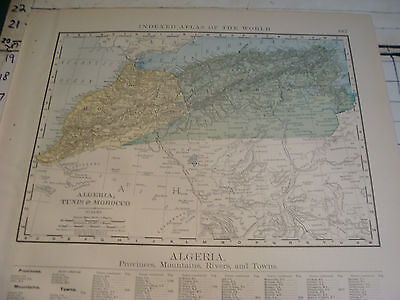 Vintage Original 1898 Rand McNally Map: ALGERIA MOROCCO TUNIS + index, 15 x 21""
