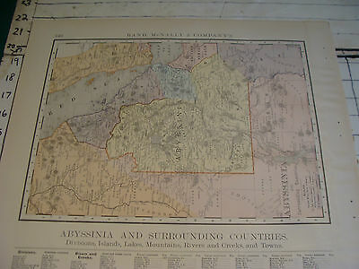 Vintage Original 1898 Rand McNally Map: ABYSSINIA plus index, 15 x 21""