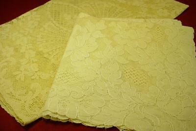 2 ANTIQUE VINTAGE LACE TABLE SCARF RUNNERS POINT de VENICE FLORAL ROSES NICE!