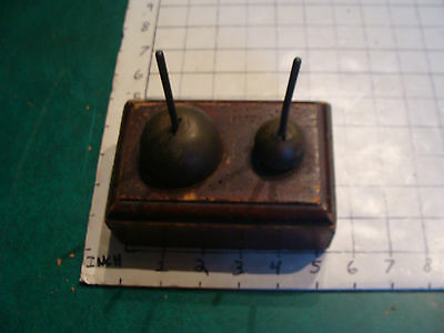 set of 2 Brass Balls (weights) with rods in wood, V EARLY, ELI BUK
