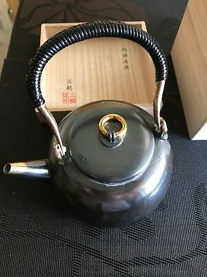 Japanese Pure Silver TEA KETTLE signed MITSUKOSHI / W16 H19[cm] 446g
