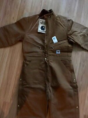 Carhartt Insulated Brown Duck Coverall Overall Shirt Pants