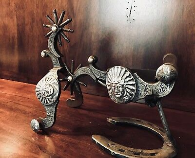 Handmade Sterling Silver Inlay Single Mounted Garcia Chief Spurs Maker Marked Nr