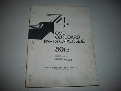 1974 Evinrude & Johnson 50 Hp Outboard Engine Illustrated  Parts Catalog