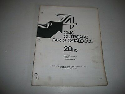 1974 Evinrude & Johnson 20 Hp Outboard Engine Illustrated  Parts Catalog