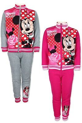 DISNEY MINNIE MOUSE Trainingsanzug Jogginganzug Sportanzug Tracksuit PinkGrau