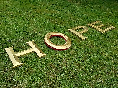 """Gold/Red letters HOPE 12"""" capital resin pub shop sign wall art home 3D"""