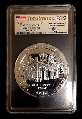 2016 HARPERS FERRY PCGS MS69 DMPL Mercanti FS AMERICA BEAUTIFUL ATB 5 Oz.SILVER