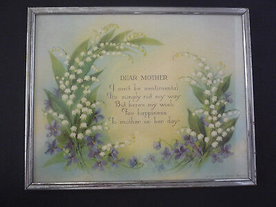 "Vintage Framed DEAR MOTHER MOTTO, PLAQUE. Lilies of the Valley & Violets, 8""x10"""