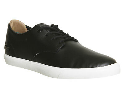 Mens Lacoste Black Leather Lace Up Trainers Uk Size 7 *Ex Display