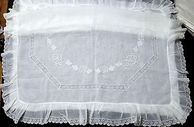 """French Pillow Sham - Lg. 40"""" Torchon Lace & Delicate Embroidery on Cotton Voile"""