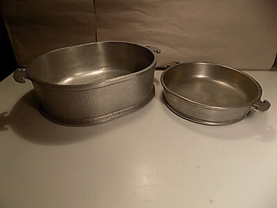 Lot of 2 Vintage-Guardian-Service-Cast-Aluminum Oval-Large-Roaster & 9 In. Round