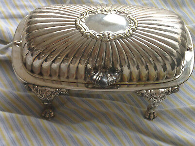 Beautiful Vintage F.B. Rogers Silver Co. Footed Butter Dish with Glass Insert /3