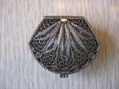 Vintage 800 Silver Filigree Trinket Rosary Pill Box  Ornate Old