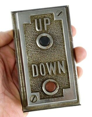 Vintage Antique Elevator Up/down Push Button Plate Switch Hardware From Old Jail