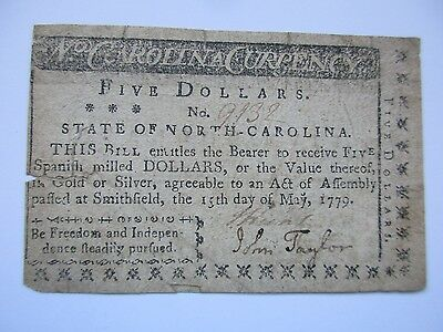 North Carolina Colonial Currency $5 1779, Very Fine
