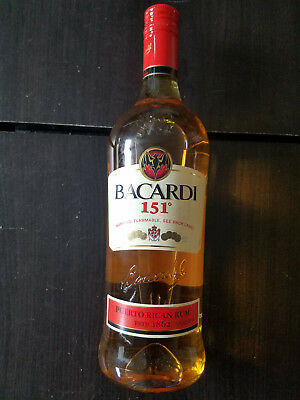 Bacardi 151 1 liter Puerto Rican Rum Sealed Bottle Discontinued