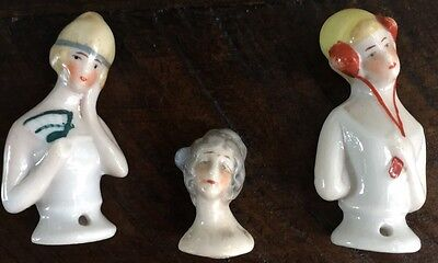 3 Antique Porcelain Pin Cushion Half Dolls Made In Germany Hand Painted