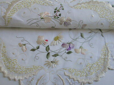 EMBROIDERED DOILY CENTERPIECE SOCIETY SILK Flowers Table Topper Antique 19""