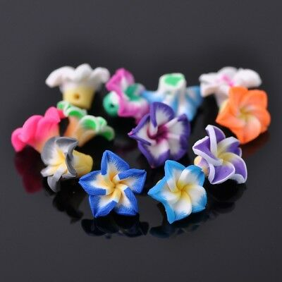 20pcs 12mm Assorted Mixed Lily Flower Shape Polymer Clay Loose DIY Craft Beads