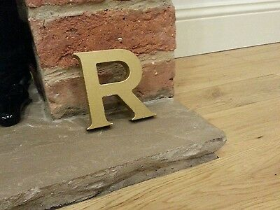 "Gold 4 3/8"" capital letter R resin pub shop sign wall art home 3D"