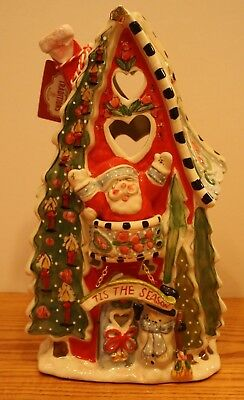 Christmas Village Blue Sky Clayworks Tis The Season Santa T Light House Goldminc