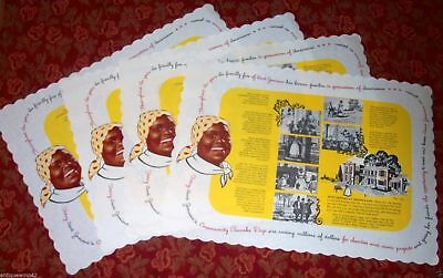 Rare Aunt Jemima vintage Linen paper placemats 1950's NEW OLD STOCK