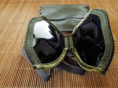 German Military Surplus Folding Sun Dust Goggles Visors carry pouch - UNISSUED