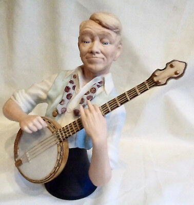 ED ROHN'S BANJO PLAYER porcelain bust figurine Signed Numbered in box 1985 Excel