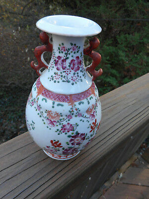Antique Porcelain Chinese Vase Drilled As Lamp ( All Lamp Parts Gone )