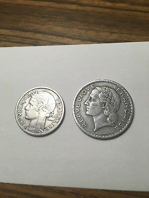 1948 B Beaumont mint 2 Franc french coin + 1949 5 francs VF/XF antique lot