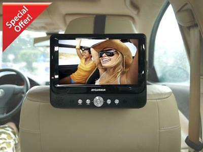 """Car DVD Player Dual Screen Portable USB 9"""" LCD Monitors Black With Speakers New"""