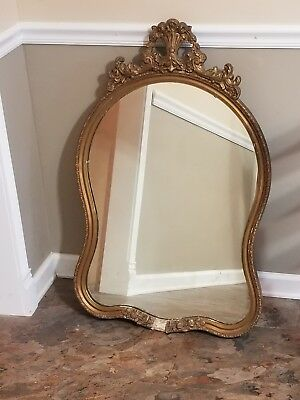 Antique gilt mirror hand carved wood Italy Spain