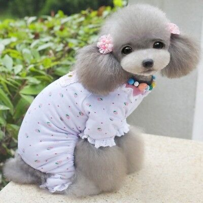 Pet Clothes Small Dog Pajama Jumpsuit Strawberry Sleepwear Soft Cotton