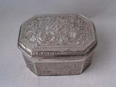Decorative Antique Indian Solid Silver Box/ L 8.4 cm/ 144 g/ UNMARKED