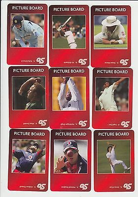 Famous Cricketers : complete UK sports game card sub set - red back (15 cards)