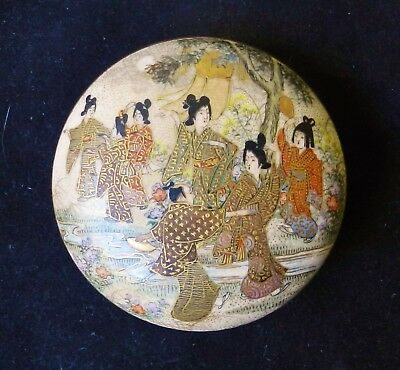 Antique 19thC SATSUMA Inside-Decorated Makeup Incense Box Porcelain Meiji-Era