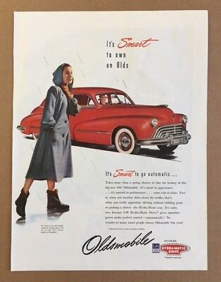 1947 Oldsmobile 98 red car Hydra-Matic Drive girl in raincoat vintage print ad