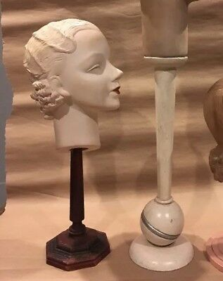 Vintage Deco Mannequin Display Advertising Antique Head Counter 30's Hat one