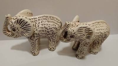 Vintage Pair Of Mexican Elephant Statues Figurines Highly Detailed Chalkware