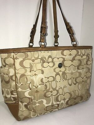 COACH Large Signature Diaper/Baby Bag Tote-Khaki/Brown (FREE SHIPPING)