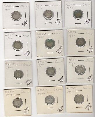 12 UK Silver 3 Pence 1905 to 1944