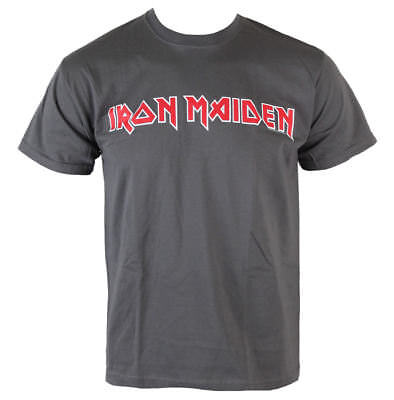 Herren T-Shirt Iron Maiden - Classic Logo - Charcoal - ROCK OFF - Größe XXL