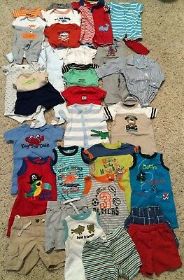 Lot of 33 Baby Boy Clothes 6-9 Months Summer Short-Sleeve Romper One-Pieces Sets