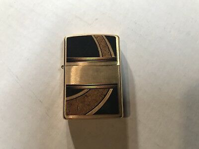Zippo Lighter * Gold and Black * Brushed Brass * 28673 * New in Box *